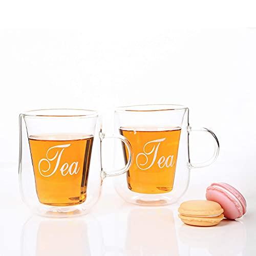 Doppelwandige Teegläser mit Schriftzug