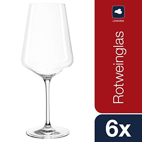 Leonardo Puccini Rotwein-Gläser, Rotwein-Kelch mit gezogenem Stiel, spülmaschinenfeste...