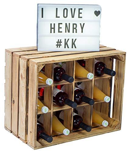 Kistenkolli Altes Land Flaschenregal Henry/Natur/geflammt Maße ca 50x40x30cm Regalkiste...