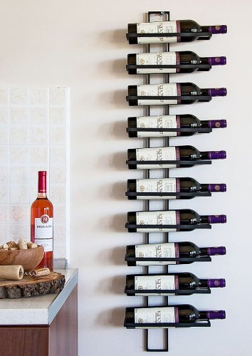 DanDiBo Weinregal Flaschenregal Metall Schwarz Wand Dies 116 cm für 10 Flaschen Flaschenständer...